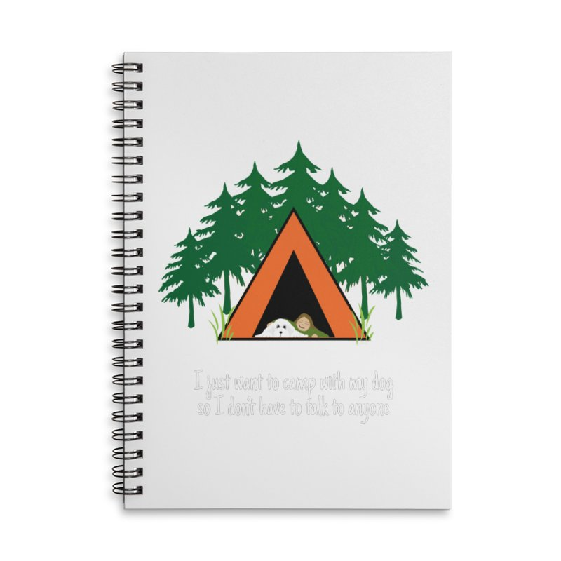 Camping w/ Dogs - Ladies Version Accessories Lined Spiral Notebook by Kristy and Luke's Shop of Mostly Horrible Things