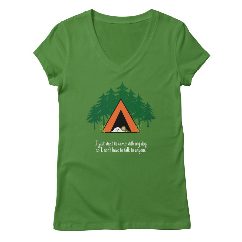 Camping w/ Dogs - Ladies Version Women's V-Neck by Kristy and Luke's Shop of Mostly Horrible Things