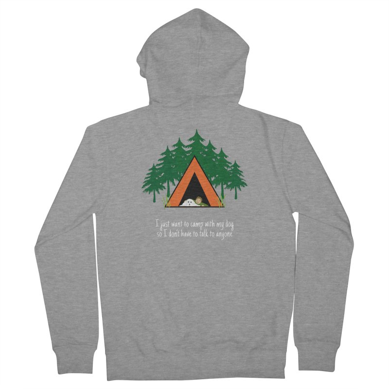Camping w/ Dogs – Guys Version Men's French Terry Zip-Up Hoody by Kristy and Luke's Shop of Mostly Horrible Things