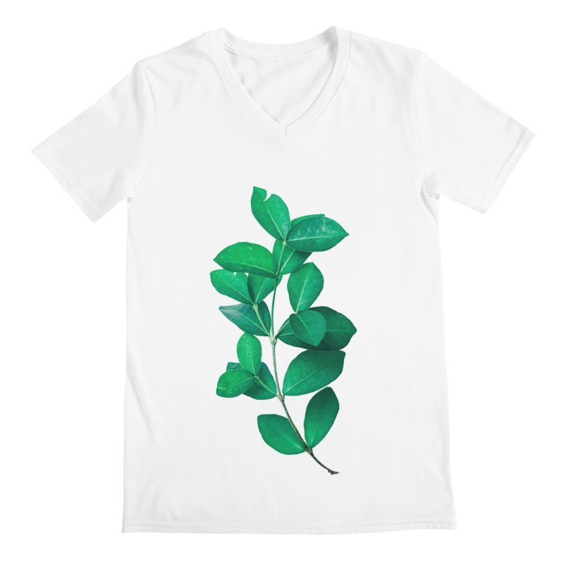 Green Leaves Men's V-Neck by KUI1981