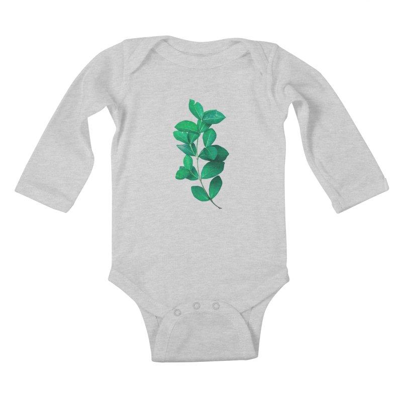 Green Leaves Kids Baby Longsleeve Bodysuit by KUI1981