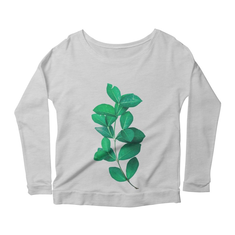 Green Leaves Women's Longsleeve Scoopneck  by KUI1981