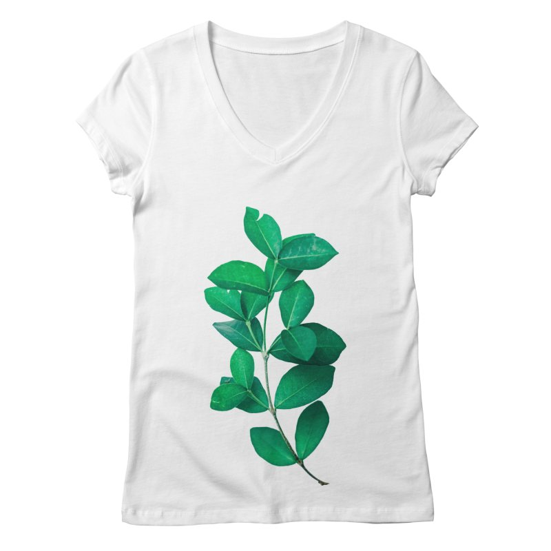 Green Leaves Women's V-Neck by KUI1981