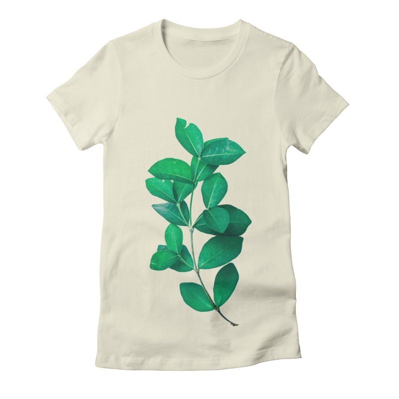 Green Leaves Women's Fitted T-Shirt by KUI1981