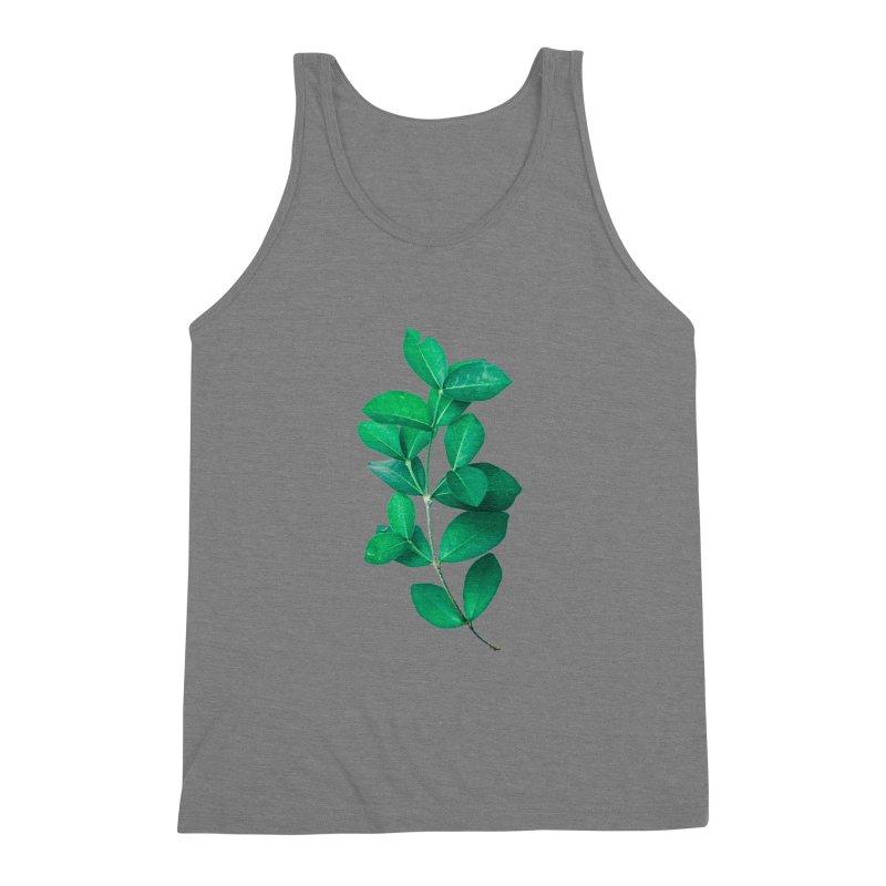 Green Leaves Men's Triblend Tank by KUI1981