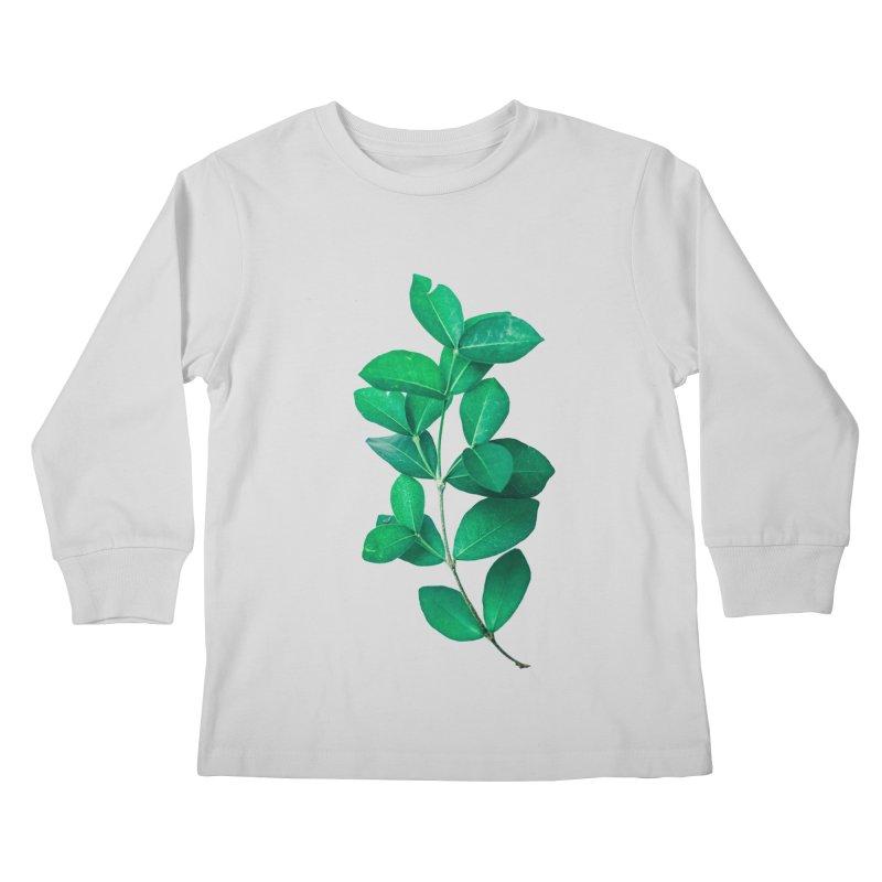 Green Leaves Kids Longsleeve T-Shirt by KUI1981