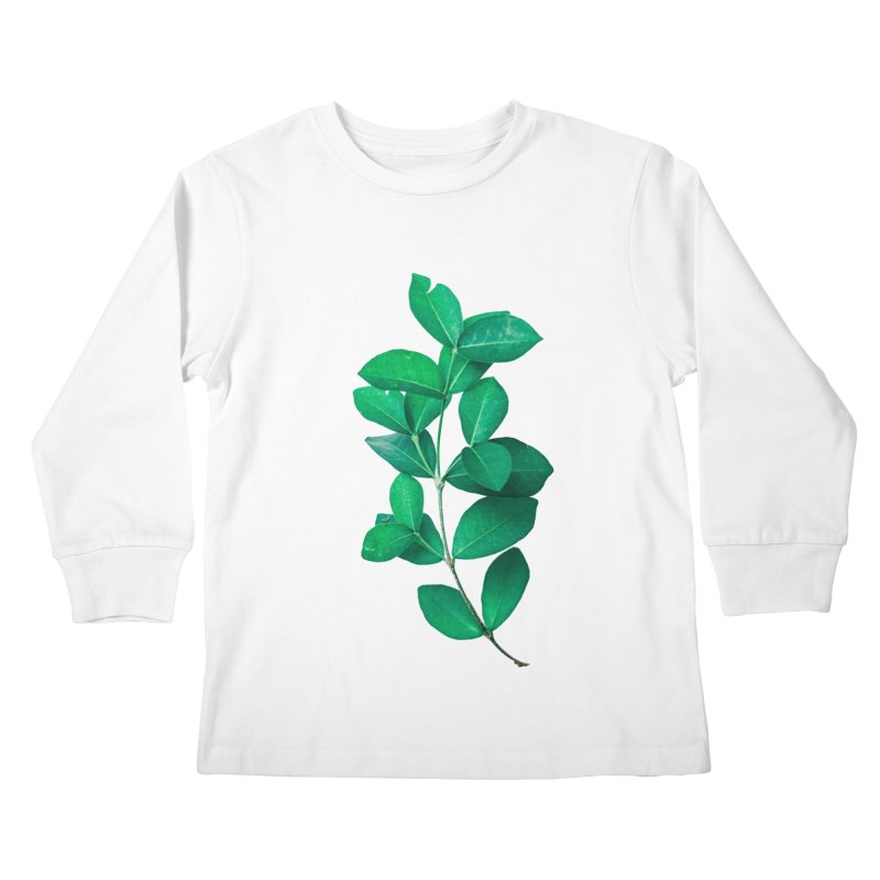 Green Leaves Kids Longsleeve T-Shirt by KUI1981
