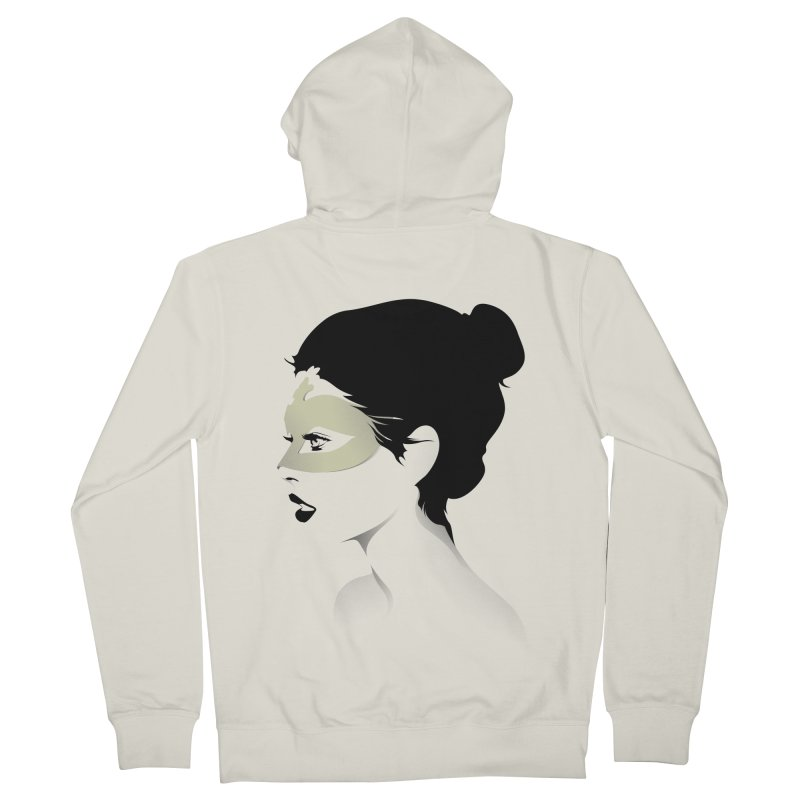 Girl Wearing a Gold Mask  Women's Zip-Up Hoody by KUI1981