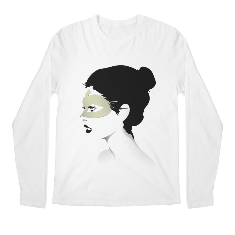 Girl Wearing a Gold Mask  Men's Longsleeve T-Shirt by KUI1981