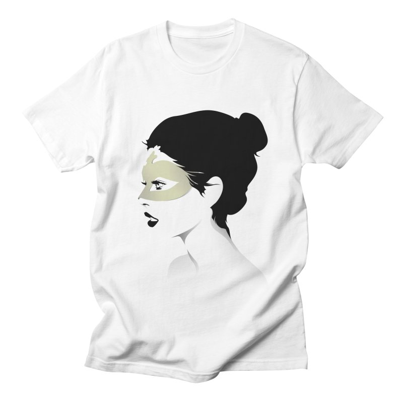 Girl Wearing a Gold Mask  Men's T-shirt by KUI1981