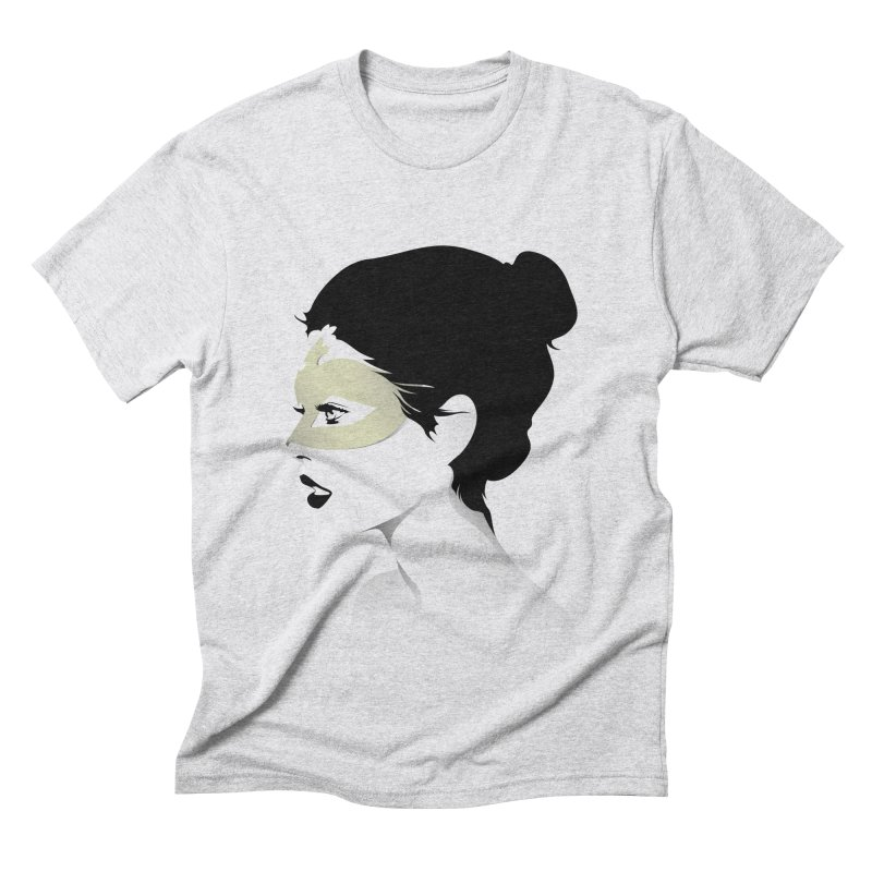 Girl Wearing a Gold Mask  Men's Triblend T-shirt by KUI1981