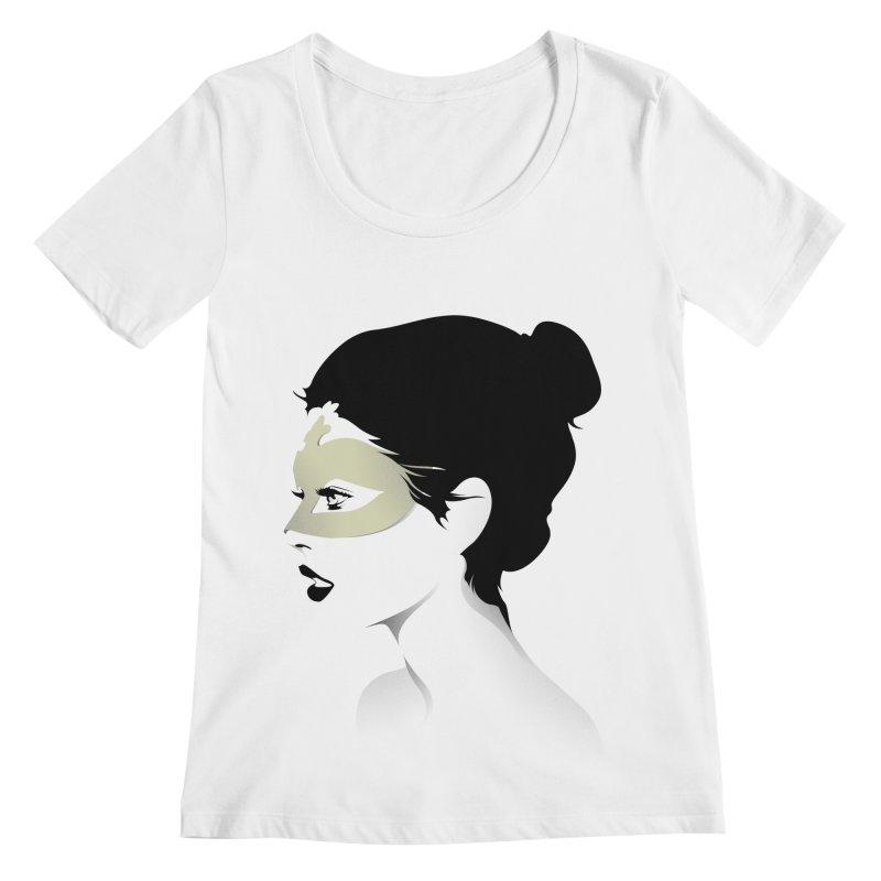 Girl Wearing a Gold Mask  Women's Scoopneck by KUI1981