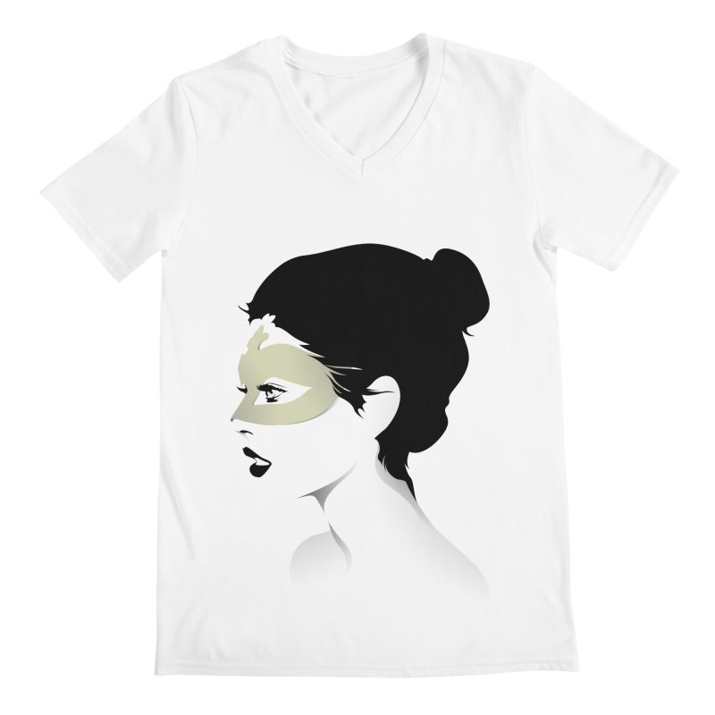 Girl Wearing a Gold Mask  Men's V-Neck by KUI1981