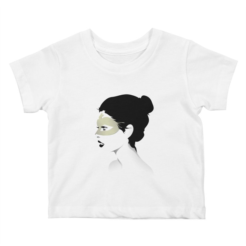 Girl Wearing a Gold Mask  Kids Baby T-Shirt by KUI1981