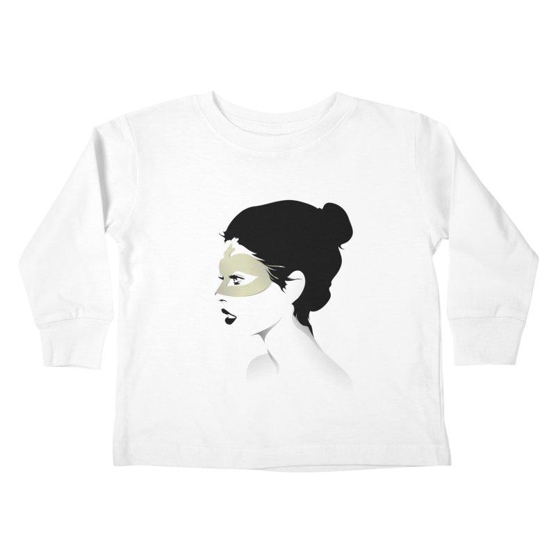 Girl Wearing a Gold Mask  Kids Toddler Longsleeve T-Shirt by KUI1981