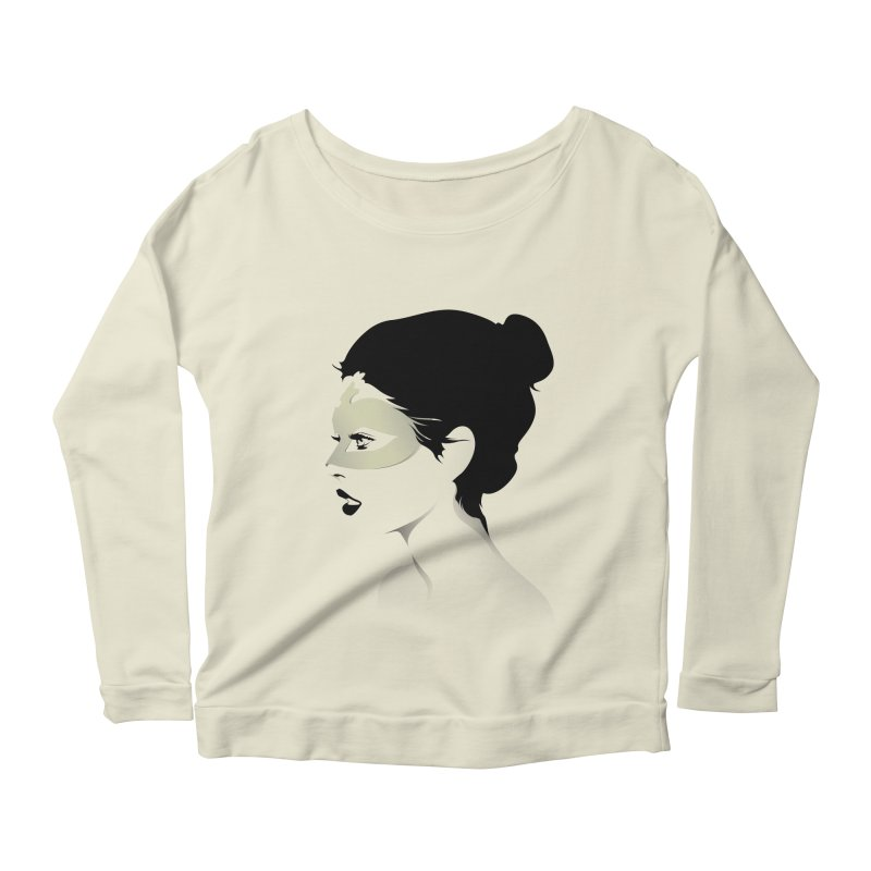 Girl Wearing a Gold Mask  Women's Longsleeve Scoopneck  by KUI1981