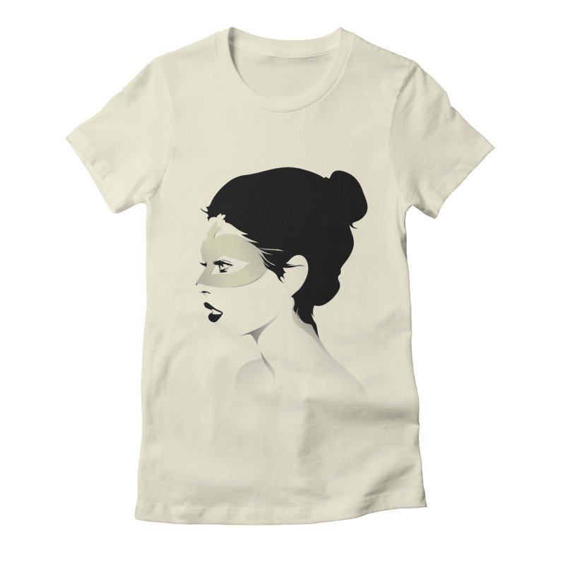 Girl Wearing a Gold Mask  Women's Fitted T-Shirt by KUI1981
