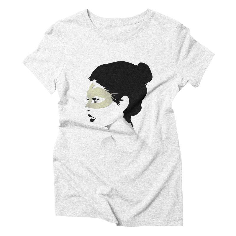Girl Wearing a Gold Mask  Women's Triblend T-shirt by KUI1981