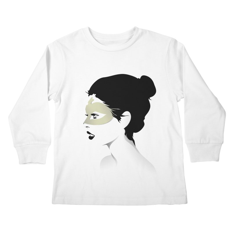 Girl Wearing a Gold Mask  Kids Longsleeve T-Shirt by KUI1981