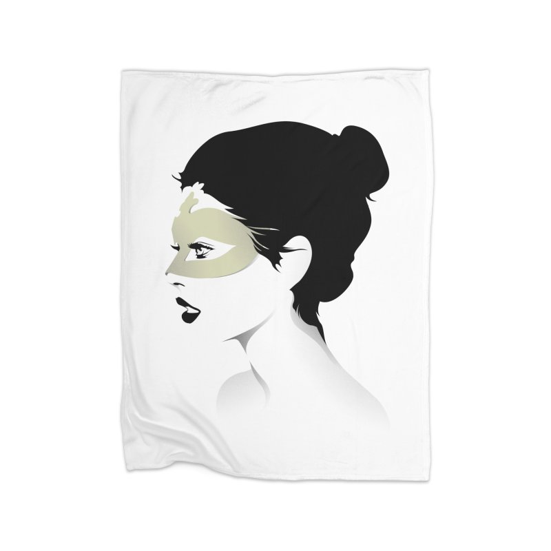 Girl Wearing a Gold Mask  Home Blanket by KUI1981