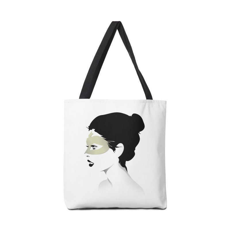 Girl Wearing a Gold Mask  Accessories Bag by KUI1981