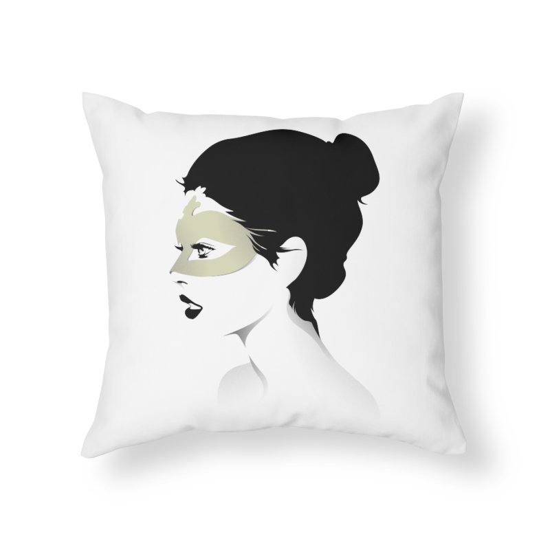 Girl Wearing a Gold Mask  Home Throw Pillow by KUI1981
