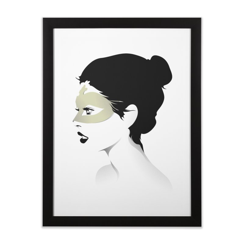Girl Wearing a Gold Mask  Home Framed Fine Art Print by KUI1981