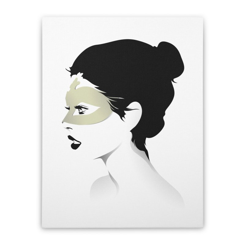 Girl Wearing a Gold Mask  Home Stretched Canvas by KUI1981