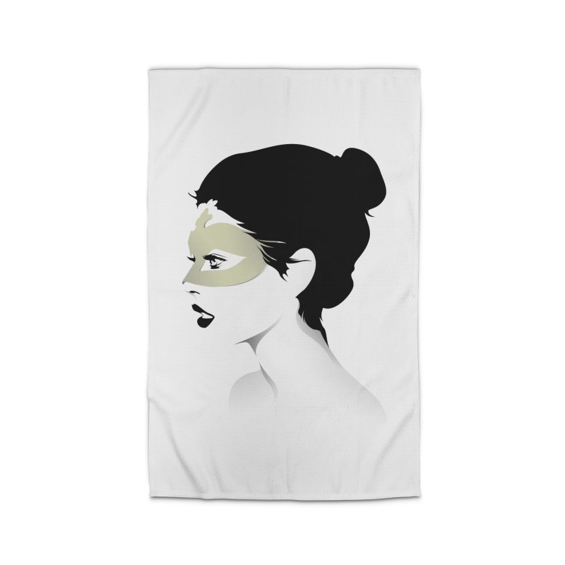 Girl Wearing a Gold Mask  Home Rug by KUI1981