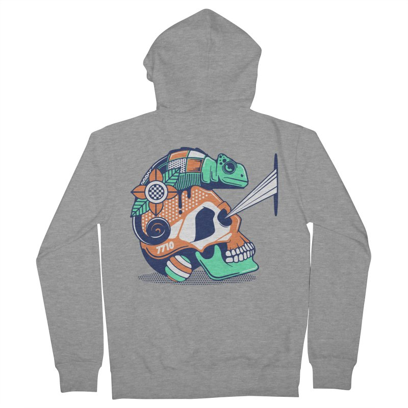 SKULL CHAMELEON Women's French Terry Zip-Up Hoody by kukulcanvas's Artist Shop