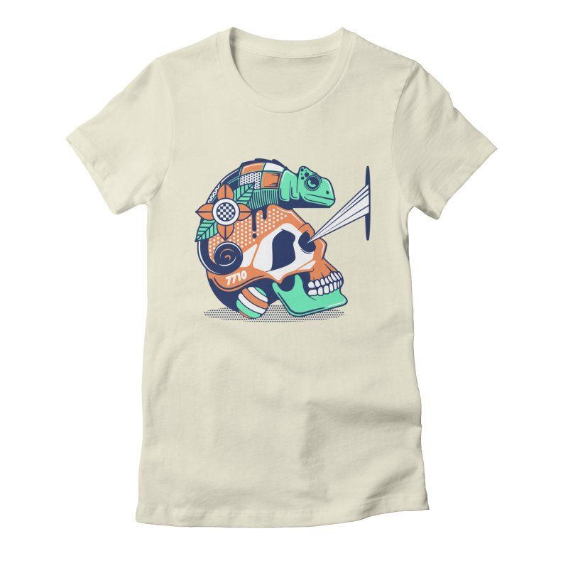 SKULL CHAMELEON Women's Fitted T-Shirt by kukulcanvas's Artist Shop