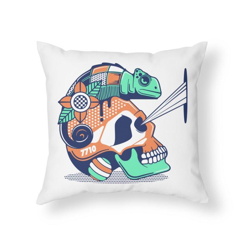 SKULL CHAMELEON Home Throw Pillow by kukulcanvas's Artist Shop