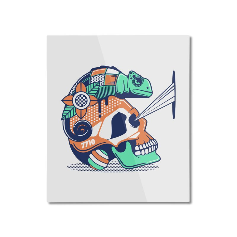 SKULL CHAMELEON Home Mounted Aluminum Print by kukulcanvas's Artist Shop