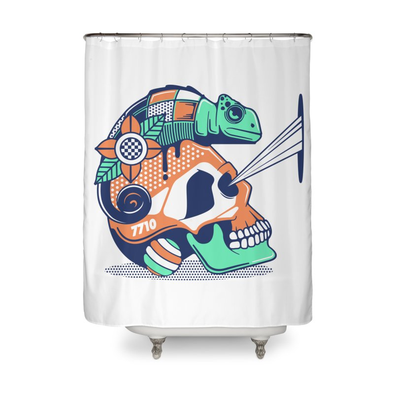 SKULL CHAMELEON Home Shower Curtain by kukulcanvas's Artist Shop