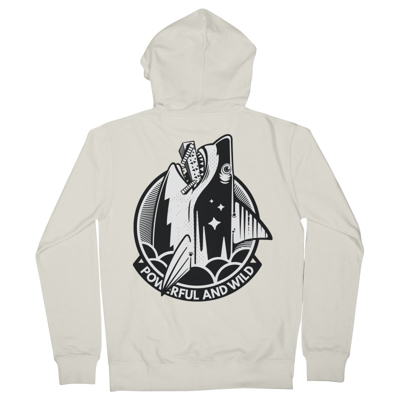 POWERFUL AND WILD Men's French Terry Zip-Up Hoody by kukulcanvas's Artist Shop