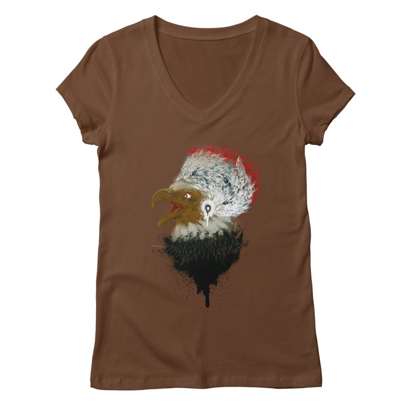 the leader indian eagle chief Women's V-Neck by kumpast's Artist Shop