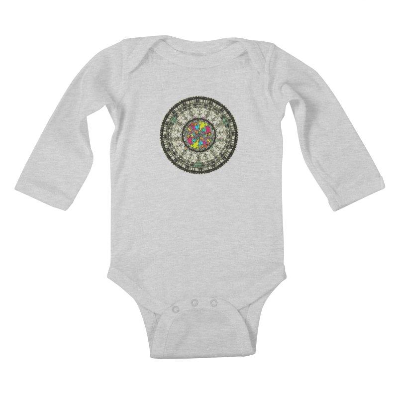 the mandala around Kids Baby Longsleeve Bodysuit by kumpast's Artist Shop