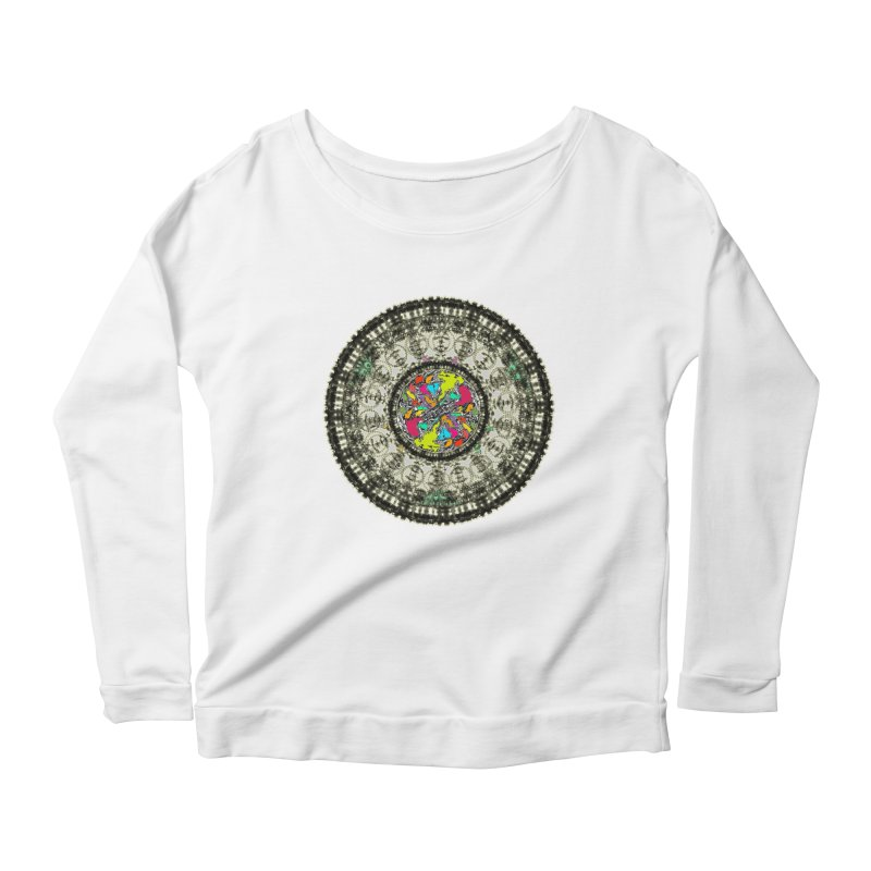 the mandala around Women's Longsleeve Scoopneck  by kumpast's Artist Shop