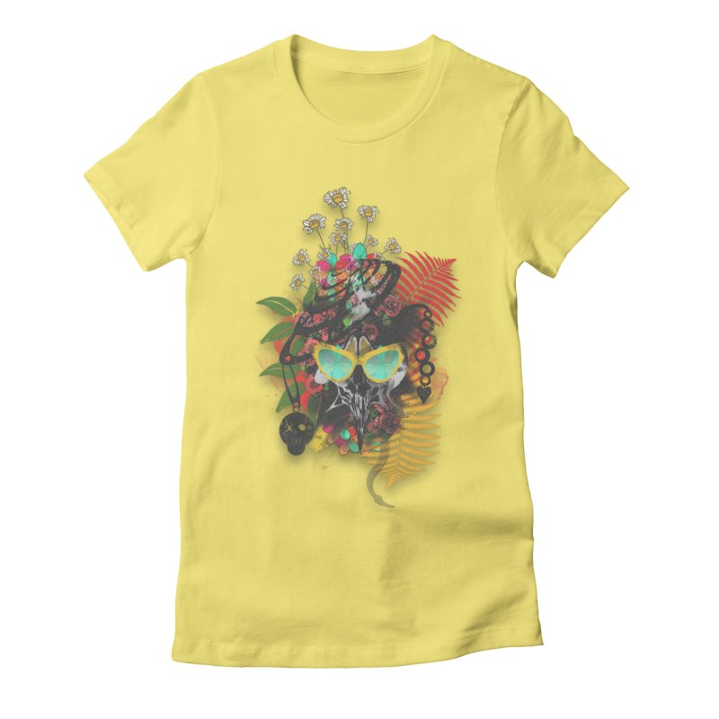 skull spring before summer Women's Fitted T-Shirt by kumpast's Artist Shop