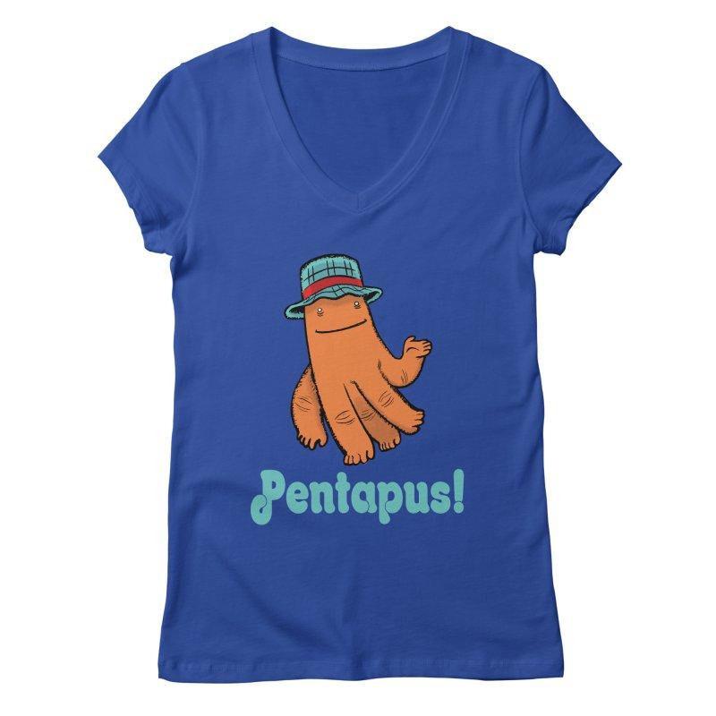 Pentapus - Orange Women's V-Neck by The Kurdles' T-shirt Shop