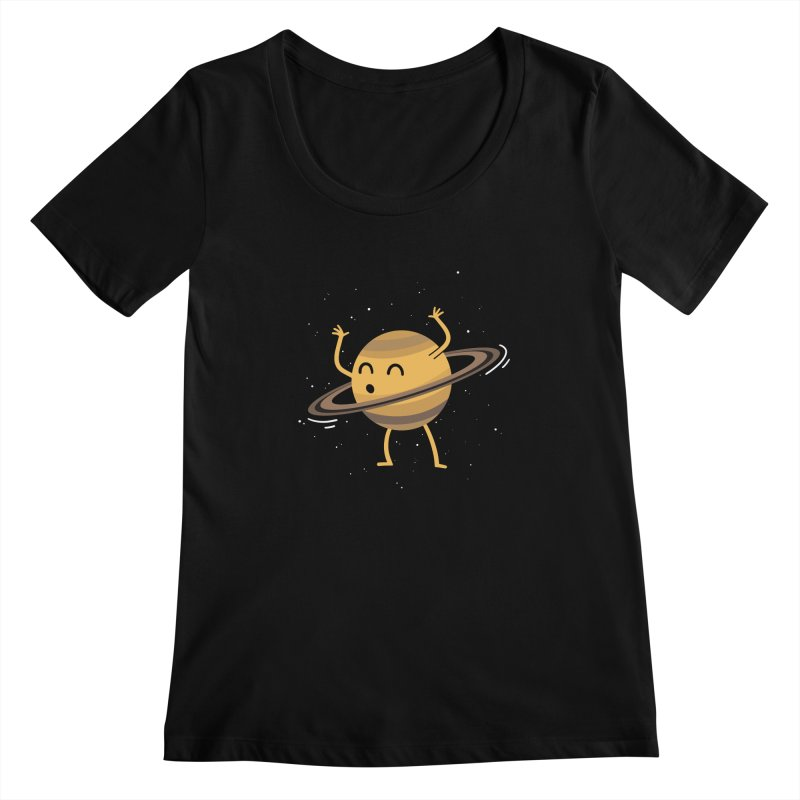 Space Hula Hoop Women's Scoopneck by Designs by Kurisquare