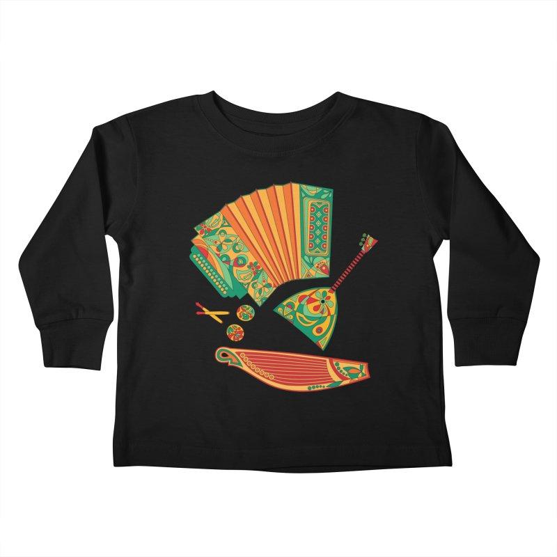 Russian Musical Instruments Kids Toddler Longsleeve T-Shirt by Kurochka