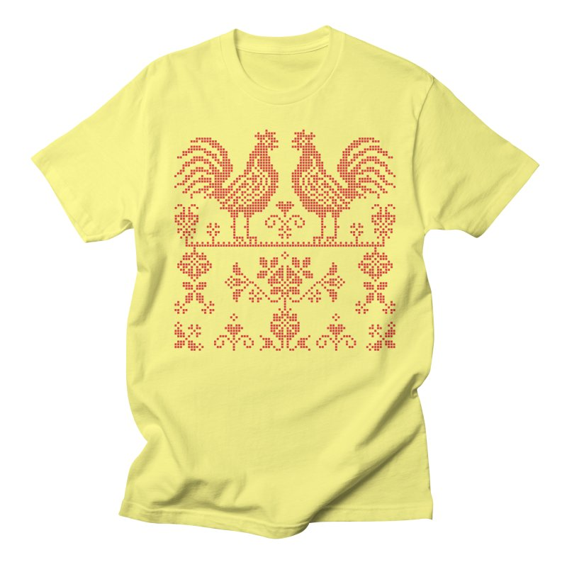 Embroidery Red Roosters Men's T-Shirt by Kurochka