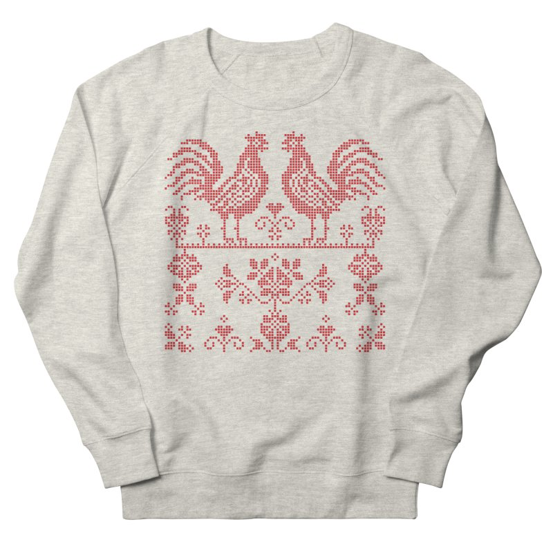 Embroidery Red Roosters Men's Sweatshirt by Kurochka