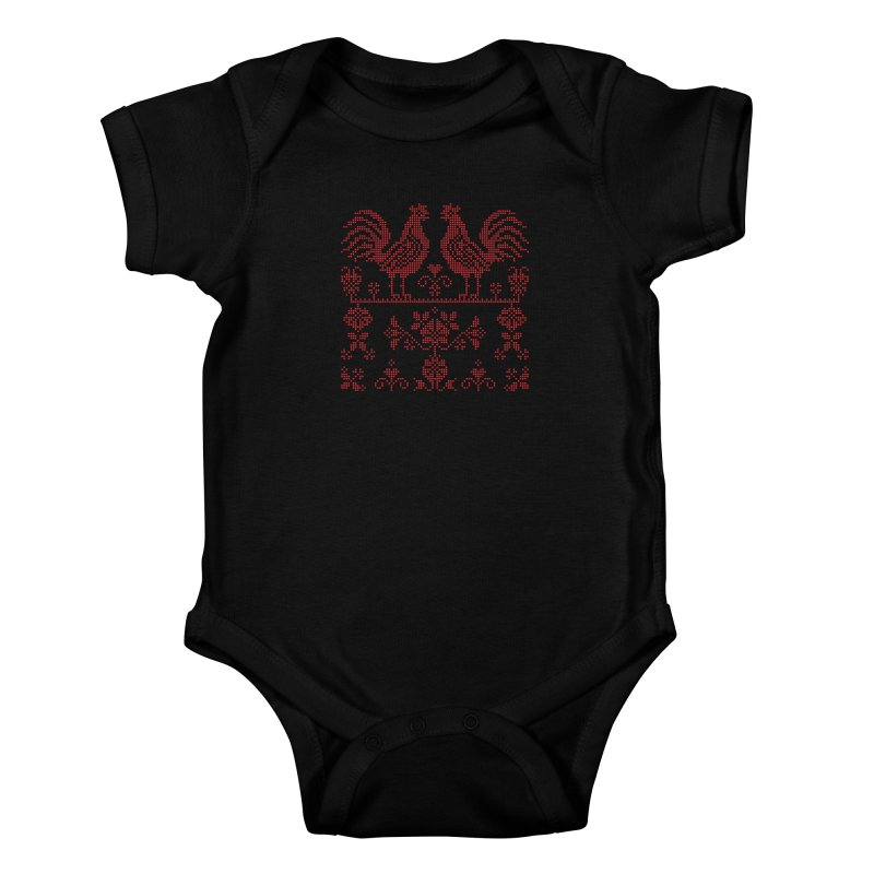 Embroidery Red Roosters Kids Baby Bodysuit by Kurochka