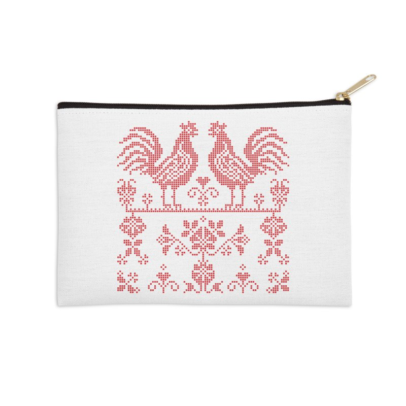 Embroidery Red Roosters Accessories Zip Pouch by Kurochka