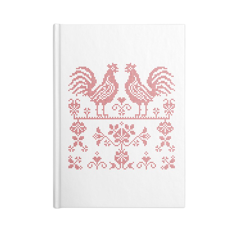 Embroidery Red Roosters Accessories Notebook by Kurochka