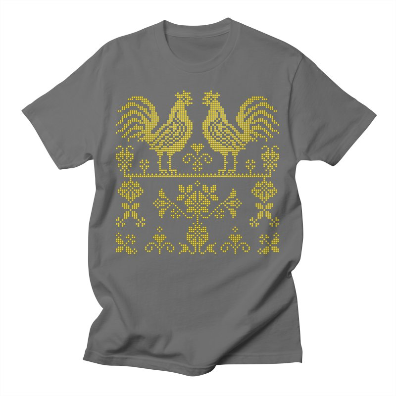 Embroidery Yellow Roosters Men's T-Shirt by Kurochka