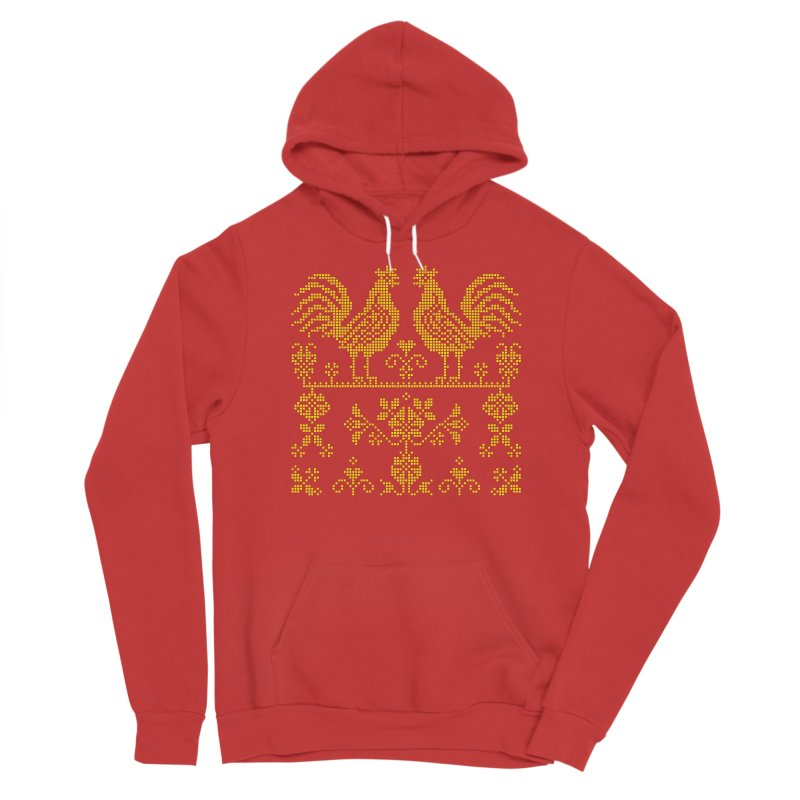 Embroidery Yellow Roosters Women's Pullover Hoody by Kurochka