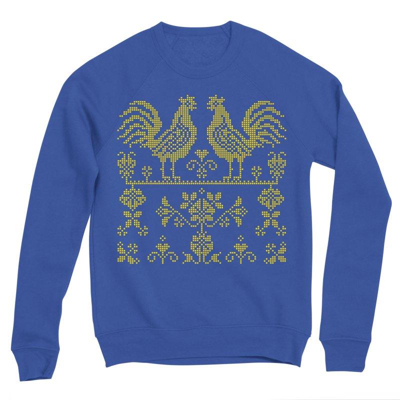 Embroidery Yellow Roosters Men's Sweatshirt by Kurochka
